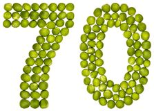 Arabic numeral 70, seventy, from green peas, isolated on white b stock photos