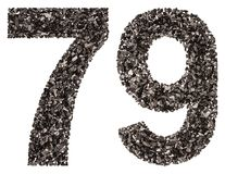 Arabic numeral 79, seventy nine, from black a natural charcoal,. Isolated on white background Stock Photos