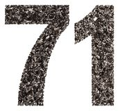 Arabic numeral 71, seventy one, from black a natural charcoal, i Royalty Free Stock Images