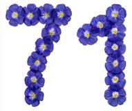 Arabic numeral 71, seventy one, from blue flowers of flax, isola. Ted on white background Royalty Free Stock Images