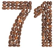 Arabic numeral 71, seventy one, from coffee beans, isolated on w. Hite background Stock Photo