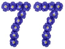 Arabic numeral 77, seventy seven, from blue flowers of flax, iso. Lated on white background Royalty Free Stock Images