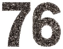 Arabic numeral 76, seventy six, from black a natural charcoal, i Royalty Free Stock Photos