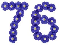 Arabic numeral 76, seventy six, from blue flowers of flax, isola. Ted on white background Royalty Free Stock Images