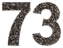 Arabic numeral 73, seventy three, from black a natural charcoal,. Isolated on white background Royalty Free Stock Photo