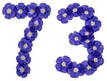 Arabic numeral 73, seventy three, from blue flowers of flax, iso. Lated on white background Royalty Free Stock Photo