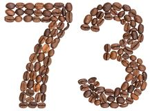 Arabic numeral 73, seventy three, from coffee beans, isolated on. White background Royalty Free Stock Photo
