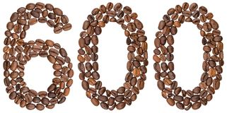 Arabic numeral 600, six hundred, from coffee beans, isolated on. White background Stock Image
