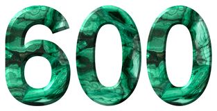Arabic numeral 600, six hundred, from natural green malachite, isolated on white background.  stock photos