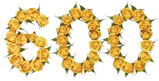 Arabic numeral 600, six hundred, from yellow flowers of rose, is. Olated on white background stock photos