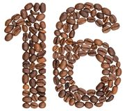 Arabic numeral 16, sixteen, from coffee beans, isolated on white Stock Photo