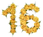 Arabic numeral 16, sixteen, from yellow flowers of rose, isolate. D on white background stock photo