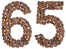 Arabic numeral 65, sixty five, from coffee beans, isolated on wh. Ite background Stock Photo