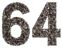 Arabic numeral 64, sixty four, from black a natural charcoal, is Stock Image