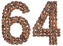 Arabic numeral 64, sixty four, from coffee beans, isolated on wh. Ite background Royalty Free Stock Photos
