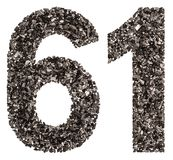 Arabic numeral 61, sixty one, from black a natural charcoal, iso Stock Image