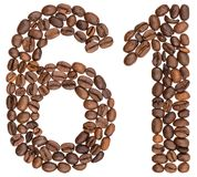 Arabic numeral 61, sixty one, from coffee beans, isolated on whi. Te background Stock Images