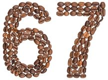 Arabic numeral 67, sixty seven, from coffee beans, isolated on w. Hite background Stock Images