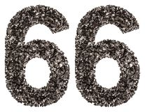 Arabic numeral 66, sixty six, from black a natural charcoal, iso Royalty Free Stock Images