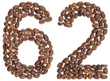 Arabic numeral 62, sixty two, from coffee beans, isolated on whi. Te background Royalty Free Stock Photos