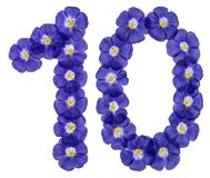 Arabic numeral 10, ten, from blue flowers of flax, isolated on w. Hite background stock photo