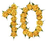 Arabic numeral 10, ten, from yellow flowers of rose, isolated on. White background stock photography
