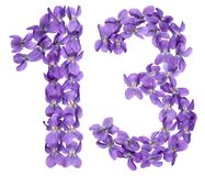 Arabic numeral 13, thirteen, from flowers of viola, isolated on. White background Royalty Free Stock Images