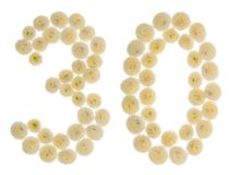 Arabic numeral 30, thirty, from cream flowers of chrysanthemum, Royalty Free Stock Photo