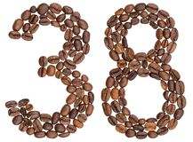 Arabic numeral 38, thirty eight, from coffee beans, isolated on Stock Photo