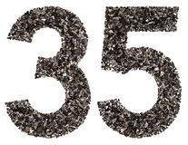 Arabic numeral 35, thirty five, from black a natural charcoal, i. Solated on white background Royalty Free Stock Photography