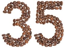Arabic numeral 35, thirty five, from coffee beans, isolated on w Royalty Free Stock Photos