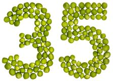 Arabic numeral 35, thirty five, from green peas, isolated on whi. Te background Royalty Free Stock Photography