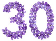 Arabic numeral 30, thirty, from flowers of viola, isolated on wh. Ite background Royalty Free Stock Image