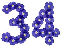 Arabic numeral 34, thirty four, from blue flowers of flax, isola Royalty Free Stock Image