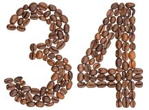 Arabic numeral 34, thirty four, from coffee beans, isolated on w Stock Photo