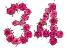Arabic numeral 34, thirty four, from red flowers of rose, isolat Royalty Free Stock Photo