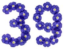 Arabic numeral 39, thirty nine, from blue flowers of flax, isola Royalty Free Stock Image