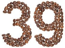 Arabic numeral 39, thirty nine, from coffee beans, isolated on w Stock Photos