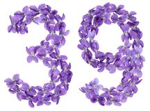 Arabic numeral 39, thirty nine, from flowers of viola, isolated. On white background Royalty Free Stock Image