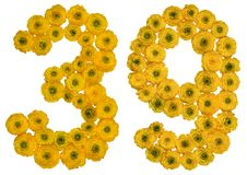 Arabic numeral 39, thirty nine, from yellow flowers of buttercup Stock Photos
