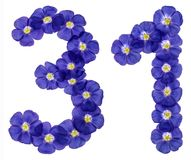 Arabic numeral 31, thirty one, from blue flowers of flax, isolat Stock Photos