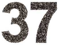 Arabic numeral 37, thirty seven, from black a natural charcoal, Royalty Free Stock Image