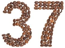 Arabic numeral 37, thirty seven, from coffee beans, isolated on Royalty Free Stock Photo