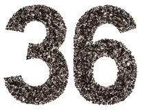 Arabic numeral 36, thirty six, from black a natural charcoal, is Royalty Free Stock Image