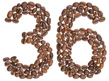 Arabic numeral 36, thirty six, from coffee beans, isolated on wh Stock Photos
