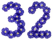 Arabic numeral 32, thirty two, from blue flowers of flax, isolat Royalty Free Stock Photos