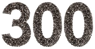 Arabic numeral 300, three hundred, from black a natural charcoal Royalty Free Stock Images
