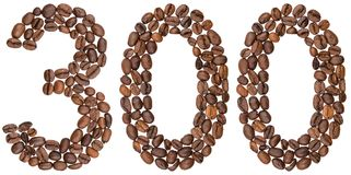 Arabic numeral 300, three hundred, from coffee beans, isolated o. N white background Royalty Free Stock Photography