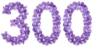 Arabic numeral 300, three hundred, from flowers of viola, isolat Royalty Free Stock Photography