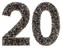 Arabic numeral 20, twenty, from black a natural charcoal, isolat Royalty Free Stock Photography